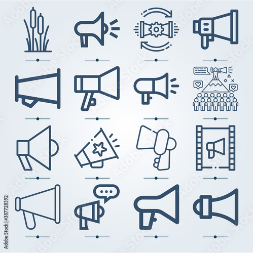 Photo Simple set of 16 icons related to reed