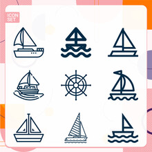 Simple Set Of  9 Lineal Icons ...