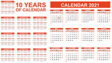 2021-2030 Ten Years Of Calendar Simple Red Second Edition