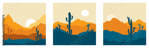 Abstract landscape with cactus / Set vector illustrations, backgrounds, triptych Canvas Print