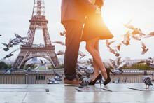 Couple Near Eiffel Tower In Pa...