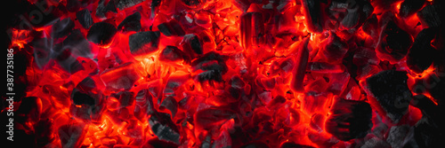 hot red coals among black ash, wallpapers for mobile devices, abstract Fotobehang
