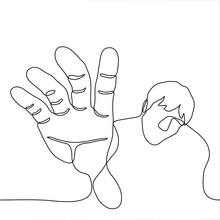 Man Reaches Out To Grab The Observer / Viewer. One Line Drawing Concept Man Trying To Grab Something Or Keep From Falling