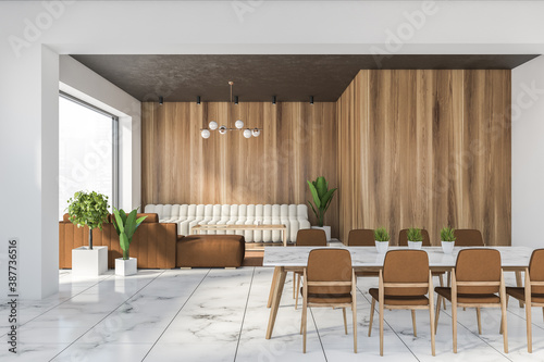 Obraz White and wooden dining room with sofa - fototapety do salonu
