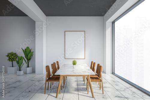 Obraz White dining room with poster - fototapety do salonu