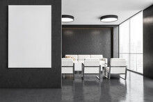 Business Office Interior With Blank Canvas, White Furniture And Dark Walls