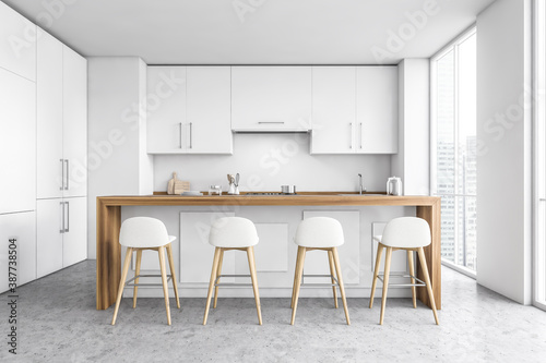 Obraz White kitchen interior with bar and stools - fototapety do salonu