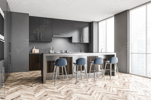 Obraz Gray kitchen corner with bar and stools - fototapety do salonu