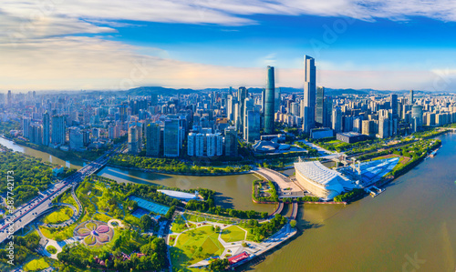 Obraz Scenery of CBD aerial photography in Guangzhou City, Guangdong Province, China - fototapety do salonu