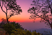 Beautiful View Before Sunrise Taken From Doi Tung, Chiang Rai Province, Thailand.