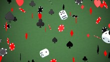 Falling Casino Chips Dice And Card Suits Gambling Luck Risk Concept - Abstract Background Texture