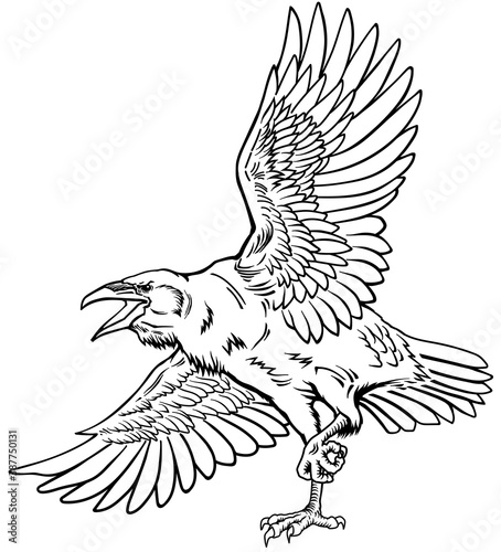 Naklejka premium A raven in flight. Flying large bird. Hand drawn crow. Outline tattoo style vector illustration