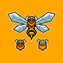 Bee Wearing Headset Mascot Illustration