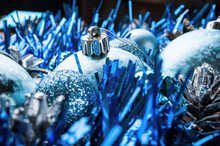 Blue Christmas Balls. New Year Background. Shallow Depth Of Field