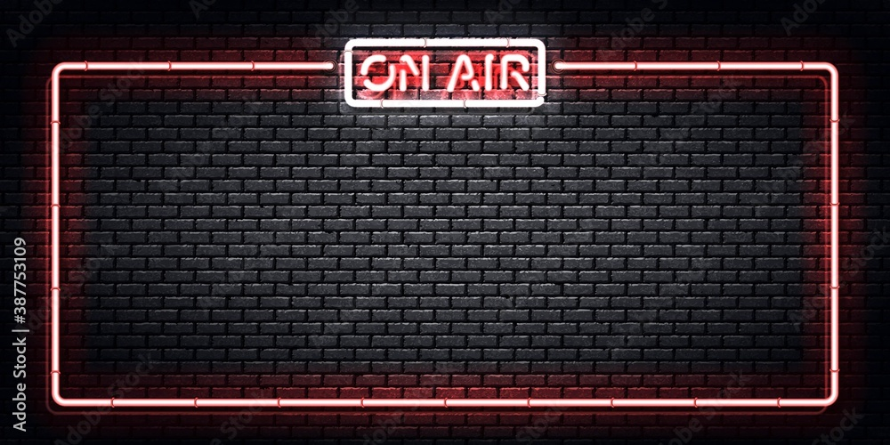 Fototapeta Vector realistic isolated neon sign of On Air frame. Concept of podcast and live streaming.