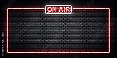 Vector realistic isolated neon sign of On Air frame. Concept of podcast and live streaming. © comicsans