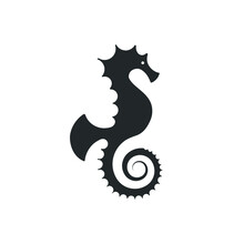 Seahorse Logo Silhouette Design - Underwater Animal Sea Marine Fish Wild Life Vector Illustration Nautical Swimming Horse Fish Adorable Diving Dive Tiny Dragon