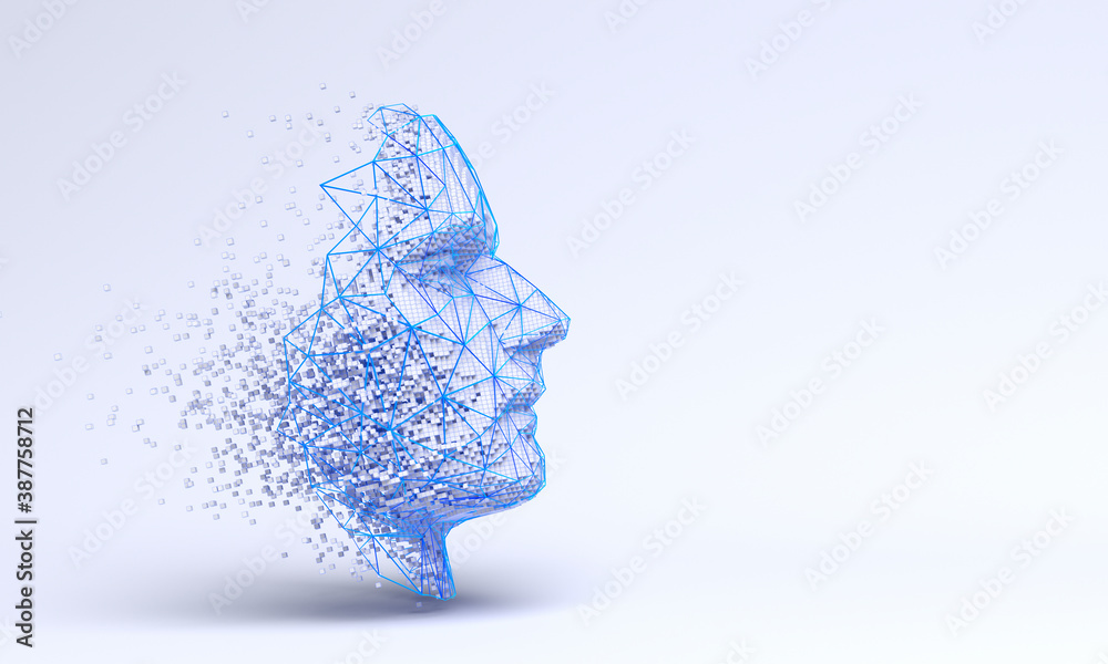 Fototapeta Abstract human face, 3d illustration of a head constructing from cubes and triangles, artificial intelligence concept