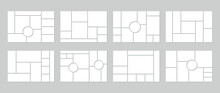 Photo Collage Grid. Vector. Mood Board Template. Set Of Blank Moodboard. Mosaic Frame Banner. Pictures On Gray Background. Photography Album Layout. Horizontal Design Of Mockup. Simple Illustration.