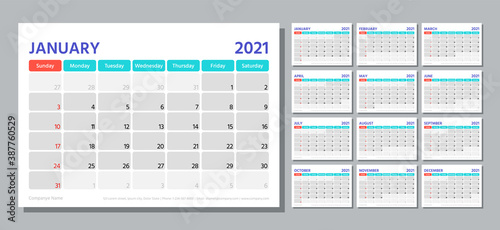 Obraz Planner 2021 year. Calendar template. Week starts Sunday. Vector. Table schedule grid. Yearly stationery organizer. Calender layout with 12 month. Horizontal monthly diary. Simple illustration. - fototapety do salonu