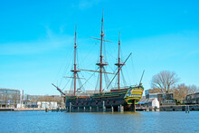 Replica 17th Century Sailing Ship In Amsterdam Harbor In The Netherlands