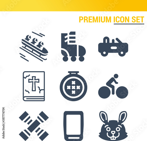 Leinwand Poster Simple set of  9 filled icons on following themes {ico_titles}