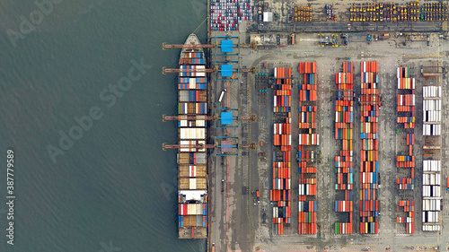 Obraz trade, ships and containers looking down aerial view from above, bird's eye view, port of Santos, Brazil - fototapety do salonu