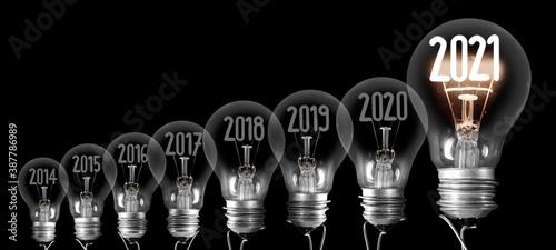 Photo Light Bulbs with New Year 2021
