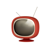 Retro Old Red TV Video Receiver. Realistic 3d Object. TV Vintage Isolated On White Background. Vector Illustration