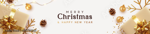 Obraz Christmas banner. Background Xmas design of sparkling lights garland, with realistic gifts box, golden snowflake and glitter gold confetti. Horizontal christmas poster, greeting cards, headers website - fototapety do salonu