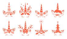 Set Of Christmas Unicorns Vect...