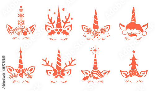 Set of Christmas unicorns vector illustration. Cute face and unicorn head. Design for shirts postcards and posters. Fairy magic reindeer with horns. Silhouette isolated on white background.