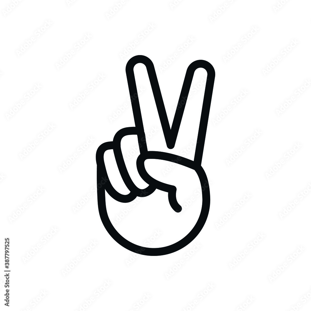 Fototapeta Peace Sign, hand V icon, two fingers symbol