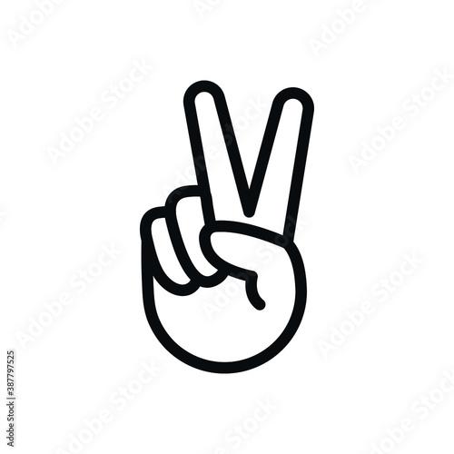 Fototapeta Peace Sign, hand V icon, two fingers symbol obraz