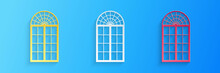 Paper Cut Window Icon Isolated On Blue Background. Paper Art Style. Vector.