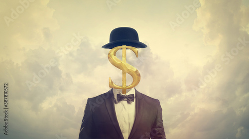 Photo Greed concept. Businessman with dollar sign for a head