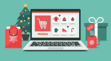 Christmas Online Shopping Concept On Laptop Screen With Gift Boxes, Shopping Bags, And Christmas Tree On Desk, Winter Holidays Sales, Vector Flat Illustration