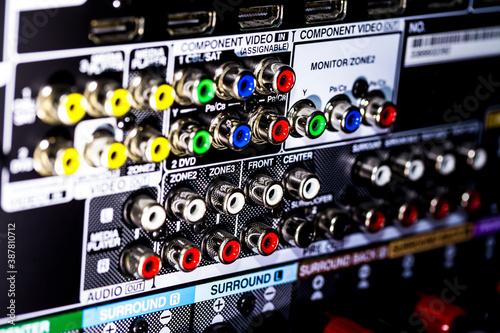 Cuadros en Lienzo Closeup of the backside of an AV receiver