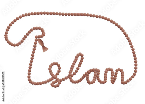 Obraz na plátne The word islam written from a tasbih or prayer beads