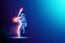 Silhouette, Image Of A Baseball Player With A Bat On Fire, Blue Hologram On A Dark Background. Sports Concept, Betting, American Game. 3D Illustration, 3D Render.
