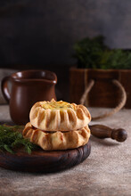 Mini Tartlets Appetizer With Cheese And Herbs