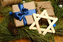 Happy Hanukkah Traditional Festival Gifts. The Symbol Of Hanukkah. Star Of David. Spruce Branches