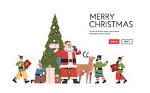 Santa Claus With Mix Race Elve...