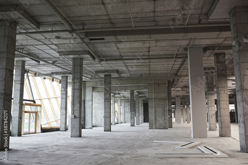 Wide angle background image of empty building under construction with concrete c Wallpaper Mural
