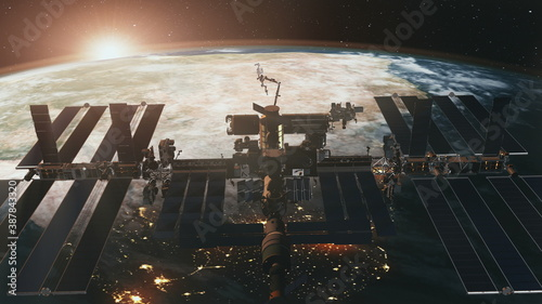 International Space Station spaceflight at Earth sunset in 3d animation. Spatial satellite ISS orbit flying in zero gravity. Solar panels technology of NASA furnished element