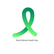 World Mental Health Day Concept. Green Awareness Ribbon Shape On White Background