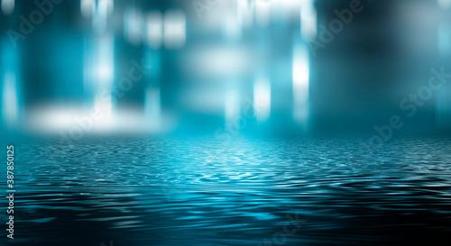Empty futuristic dramatic scene. Abstract dark landscape, street. Neon light fluid element. Night view, neon blue light. Fantasy background. 3D illustration