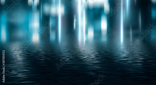 Empty futuristic dramatic scene. Abstract dark landscape, street. Neon light fluid element. Night view, neon blue light. Fantasy background. 3D illustration