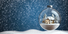 Christmas Snow Ball With House Inside It And Snowfall.