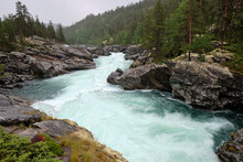 The Sjoa River Provides The Outlet From Lake Gjende At Gjendesheim In The Jotunheimen Mountains Of Norway's Jotunheim National Park. It Flows Eastward Into The Gudbrandsdalslågen River.